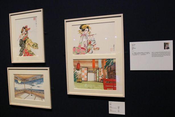 様々な時代の東京の日常を描いた作品のコーナーには、花魁となった主人公の苦悩や葛藤を描く「さくらん」の展示も