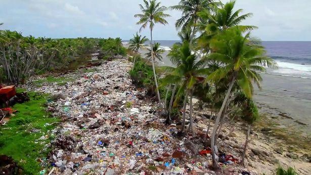 海から漂着したプラスチックゴミに埋め尽くされた浜辺