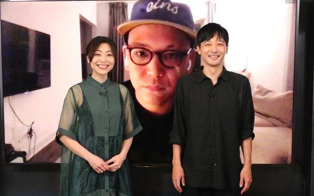 『MAYDAY』の真利子哲也監督と、日本パートを演じた岩瀬亮と内田慈夫