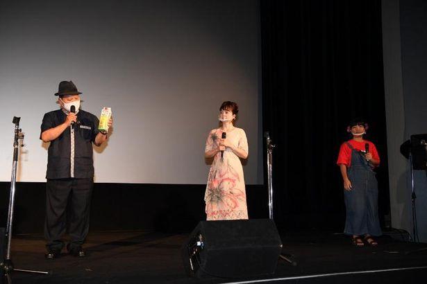 照屋年之監督(ガレッジセールのゴリ)や満島ひかりの撮影裏話を語った宮川たま子と仲田まさえ