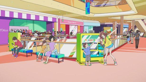 冒頭のショッピングモール内での縦横無尽のカメラワークなど、アニメだから描ける表現がユニーク