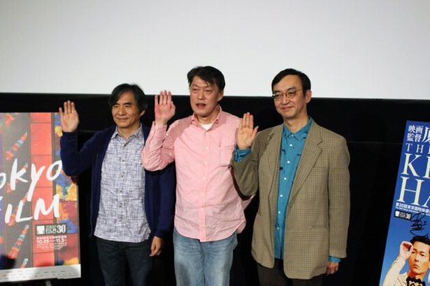 左から中島かずき、原恵一監督、MCを務めたアニメ評論家・氷川竜介