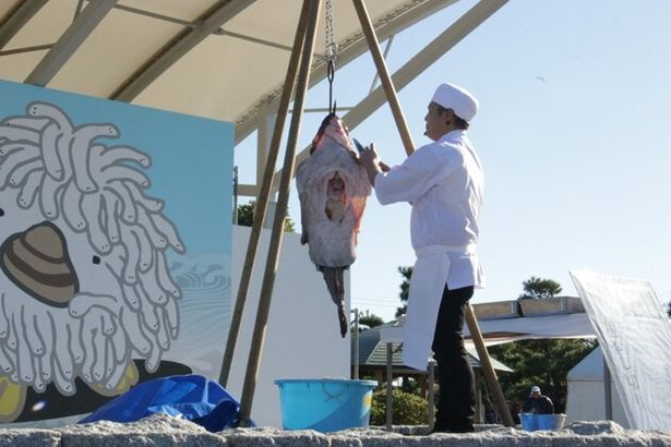 「大洗あんこう祭」のメインイベント、アンコウの吊るし切り