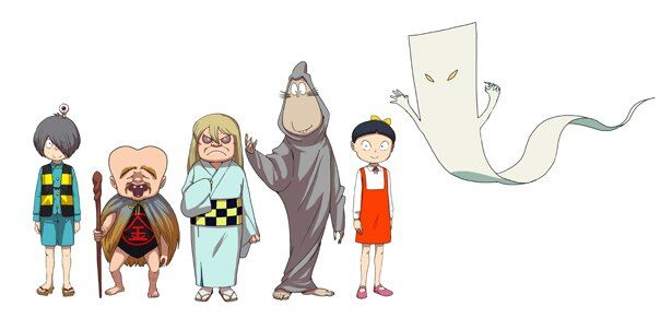 """(左から)鬼太郎、子泣きじじい、砂かけばばあ、ねずみ男、ねこ娘、一反もめんといった""""鬼太郎ファミリー""""が総出演!"""