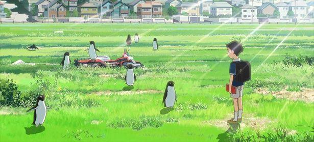 真夏の住宅街らしからぬ不思議な光景が広がっていく…(『ペンギン・ハイウェイ』 )