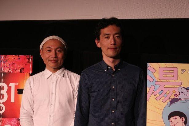 アニメーション監督・湯浅正明(写真左)と小説家の森見登美彦(同右)によるトークショーが開催