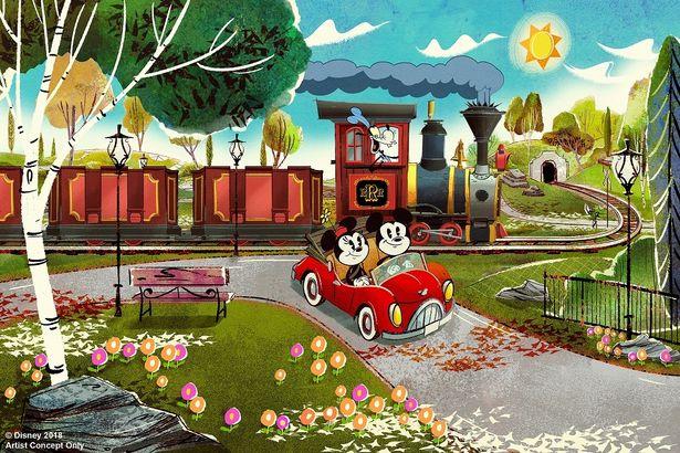 グーフィーが運転する列車に乗り込み、ライドがスタート!