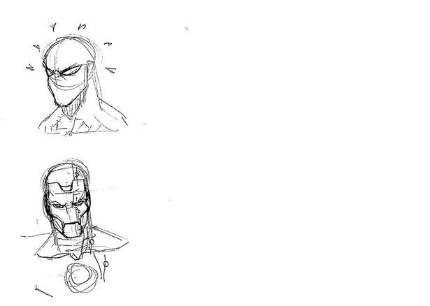 アンケート用紙の裏側にアイアンマンが描かれていた!
