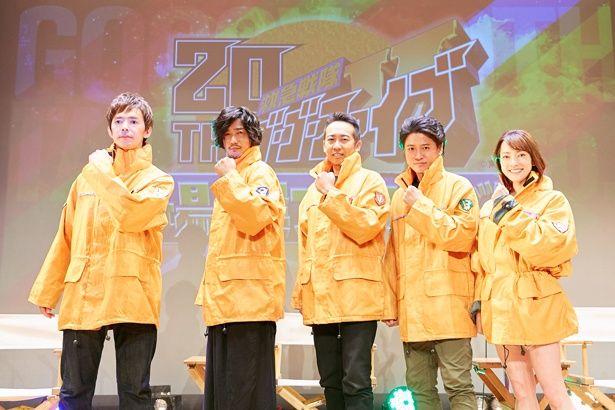 左から柴田賢志、谷口賢志、西岡竜一朗、原田篤、坂口望二香(現・柴田かよこ)