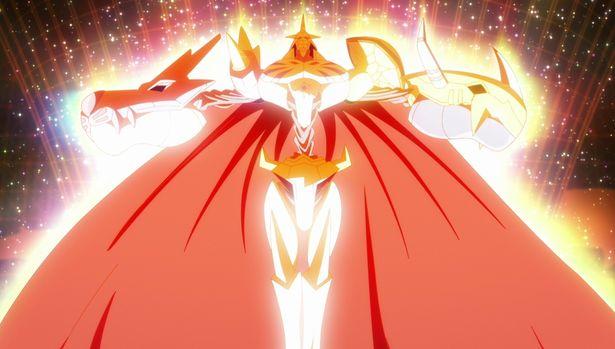 ウォーグレイモンとメタルガルルモンが融合し、オメガモンに進化する!