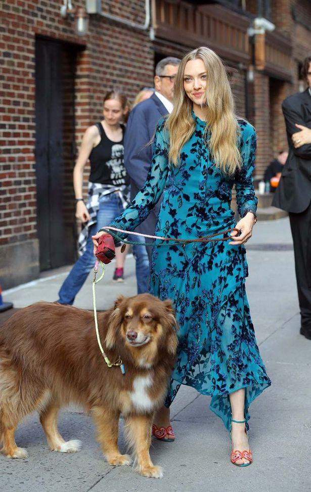 ブルーのファッションに身を包んでお散歩