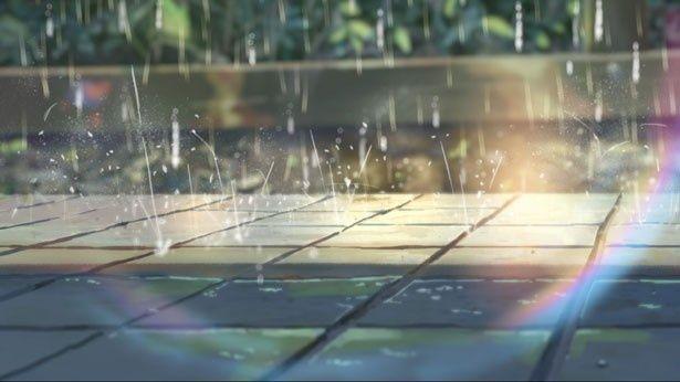 【写真を見る】タイルに落ちる雨粒の驚くべき描写。タイルや土に落ちた時など、全てが異なった描かれ方だ