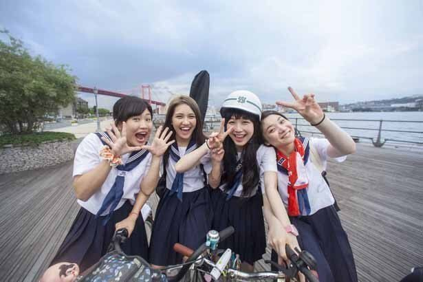 『私たちのハァハァ』では、福岡から東京まで自転車旅行をするチエ役を演じる。(写真右から2人目)