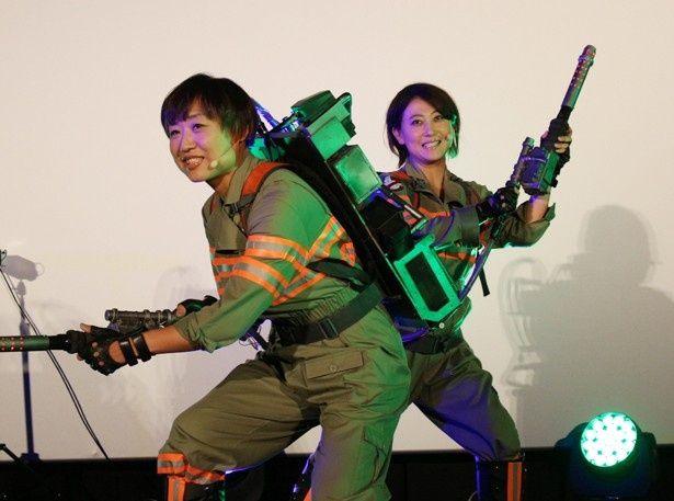 東京オリンピックに意欲!?『ゴーストバスターズ』の日本語吹替版3D特別上映会に登壇した友近と山崎静代(南海キャンディーズ)